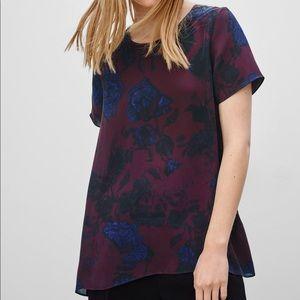 Aritzia Wilfred Cypres Silk Floral Print Blouse M